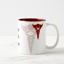 red caduceus medical gifts Two-Tone coffee mug