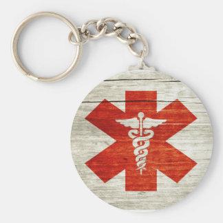 Red caduceus medical symbol basic round button keychain