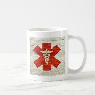 Red caduceus medical symbol coffee mug