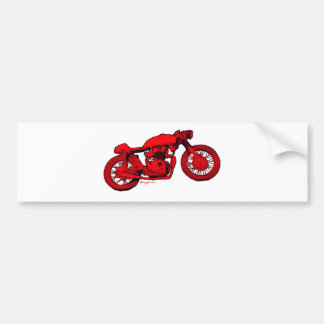 Red Cafe Racer Car Bumper Sticker