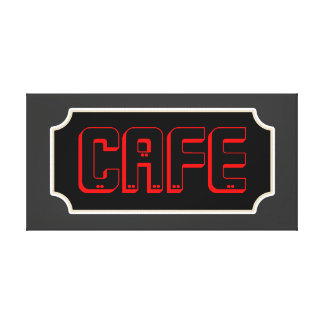 Red Cafe Sign Canvas