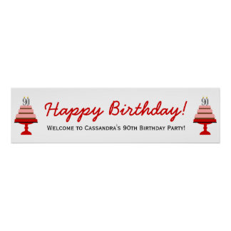 Red Cake 90th Birthday Party Banner Poster