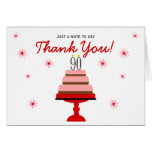 Red Cake 90th Birthday Thank You Note Card