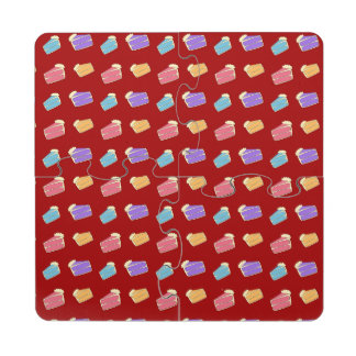 Red cake pattern puzzle coaster