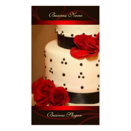 Beautiful White Tiered Cake with Black Dots, Ribbons and Roses Cake Shoppe Business Cards