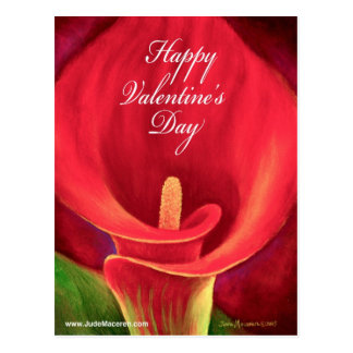 Red Cala LIly Tropical Flower Painting - Multi Postcard