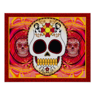 Red Calaveras Poster/Print