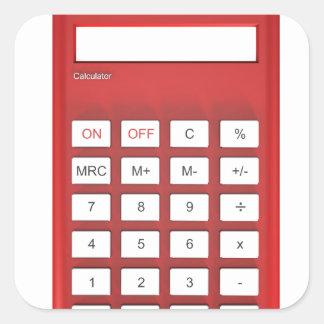 Red calculator calculator square sticker