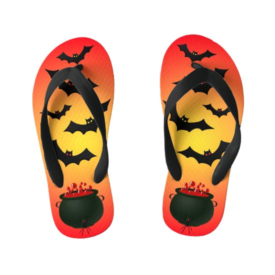Red Caldron and Bats Kid's Flip Flops