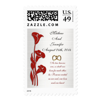 Red calla lilies postage stamp