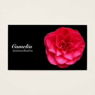 Red Camelia - Black and Dark Gray Business Card