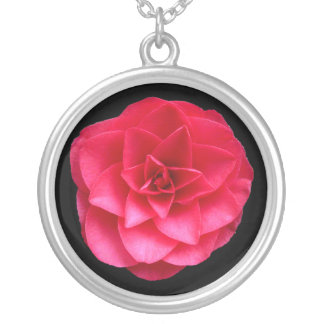 Red Camelia - Black Silver Plated Necklace