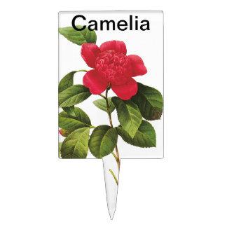 Red Camelia Cake Topper