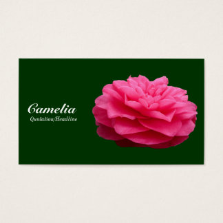 Red Camelia - Dark Green 003300 Business Card