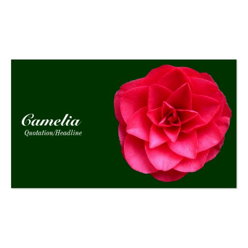 Red Camelia - Dark Green 003300 Business Cards