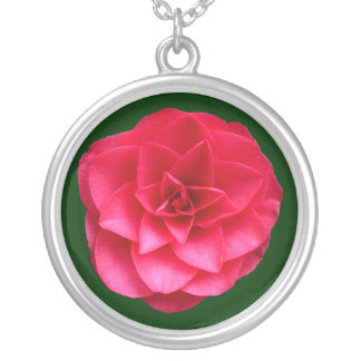 Red Camelia - Dark Green Silver Plated Necklace