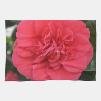 Red Camelia Flower Hand Towels