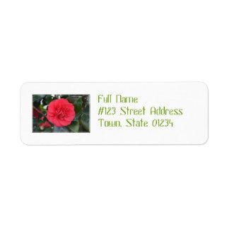 Red Camelia Flower Return Address Labels