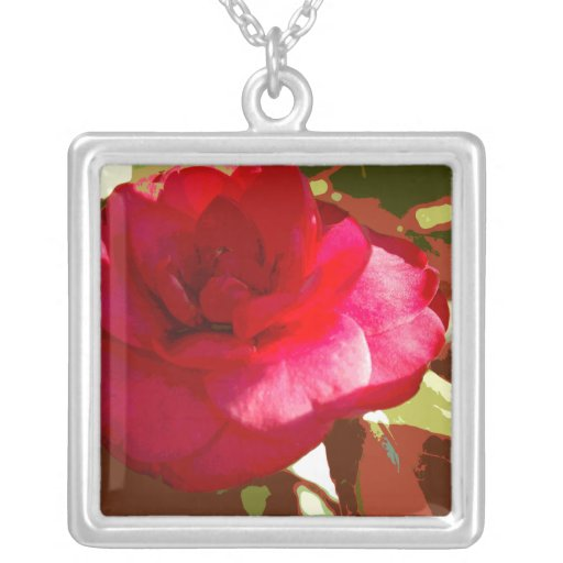 Red Camelia Flower Necklace
