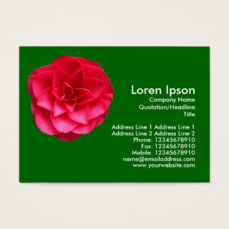 Red Camelia - Grass Green Business Card