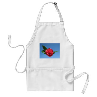 Red Camelia in Blue Sky Aprons