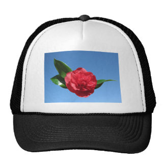 Red Camelia in Blue Sky Mesh Hat