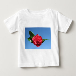 Red Camelia in Blue Sky T Shirt