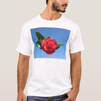 Red Camelia in Blue Sky T-Shirt