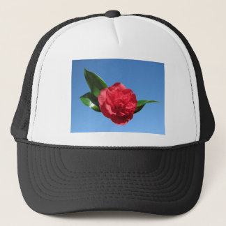Red Camelia in Blue Sky Trucker Hat