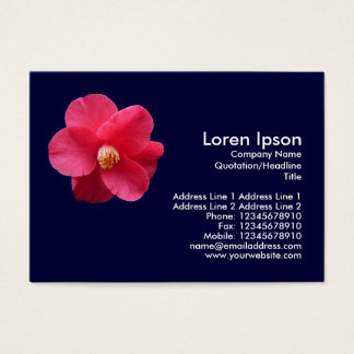 Red Camelia - Navy Blue Business Card