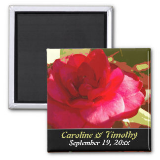 Red Camelia Wedding Save the Date Magnet