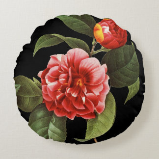 Red Camellia, 1833 Round Pillow
