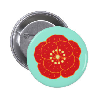 Red Camellia 2 Inch Round Button
