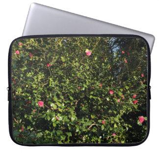 Red Camellia Bush Laptop Sleeve