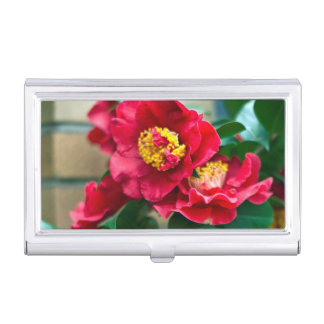 Red Camellia Business Card Case