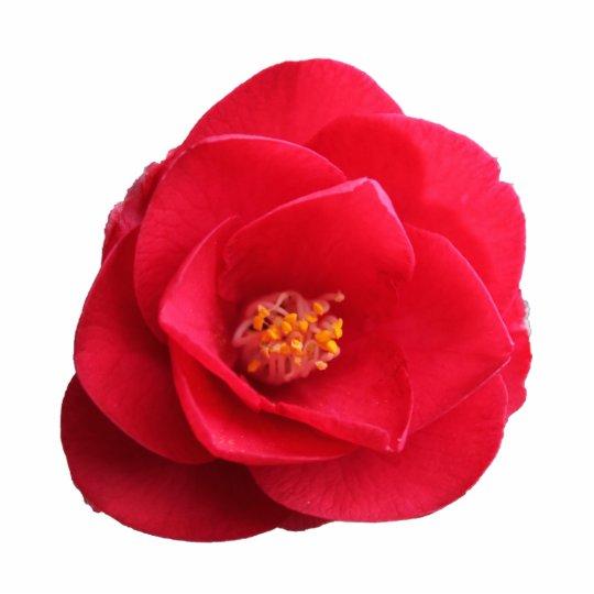 red camellia flower statuette
