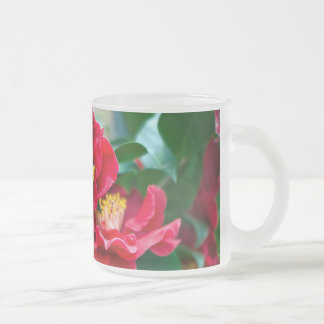 Red Camellia Frosted Glass Coffee Mug