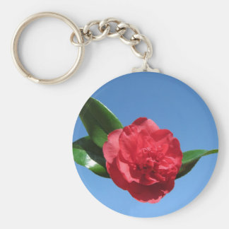 Red Camellia in Blue Sky Keychain