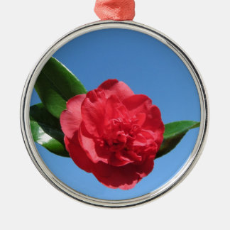 Red Camellia in Blue Sky Metal Ornament