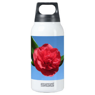 Red Camellia in Blue Sky Thermos Bottle
