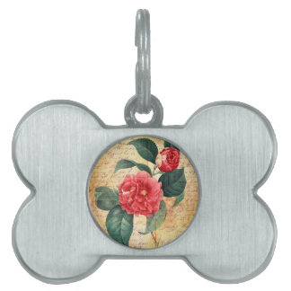 Red Camellia Letter Pet Tag