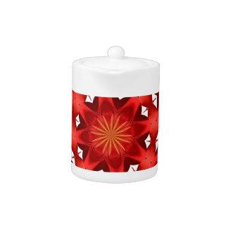 Red Camellia Mandala Teapot