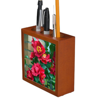 Red Camellia Pencil Holder