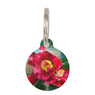 Red Camellia Pet Name Tag