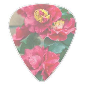 Red Camellia White Delrin Guitar Pick