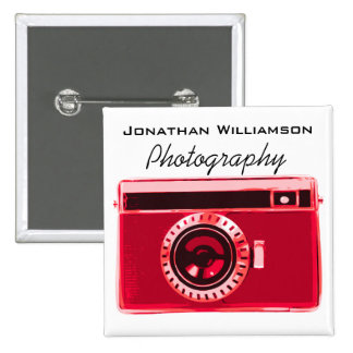 Red Camera Photography Business 2 Inch Square Button