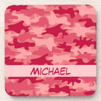Red Camo Camouflage Name Personalized Beverage Coaster