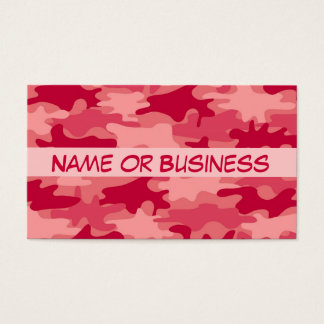 Red Camo Camouflage Name Personalized Business Card