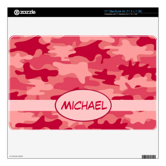 Red Camo Camouflage Name Personalized Decal For MacBook Air