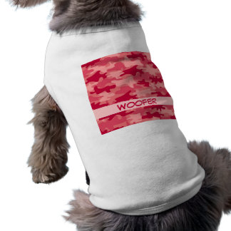 Red Camo Camouflage Name Personalized Doggie Tshirt